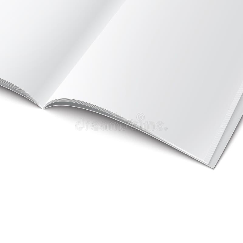 Close-up van spatie geopend tijdschriftmalplaatje. stock illustratie