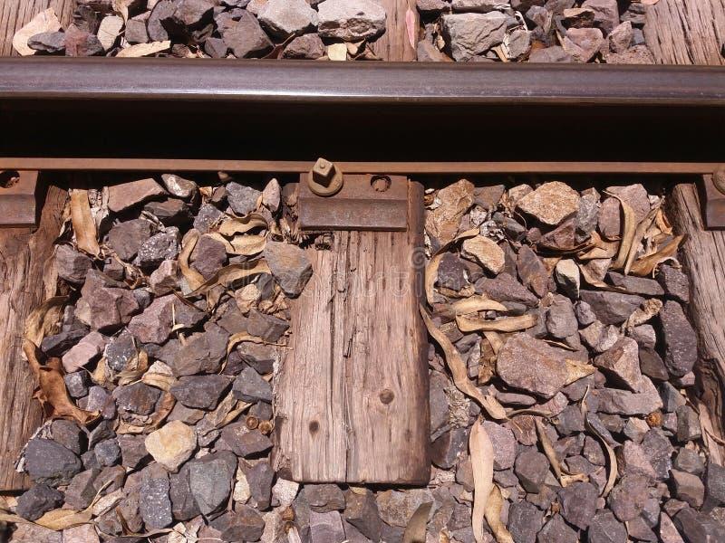 close-up van treinsporen stock afbeeldingen