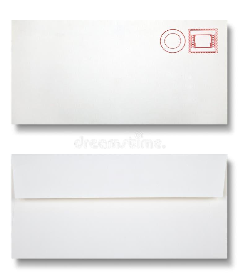 Close-up van twee enveloppen. stock foto's