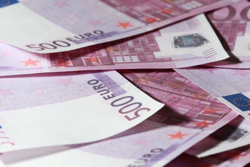 Close-up van velen bundel van 500 Euro bankbiljetten royalty-vrije stock foto's