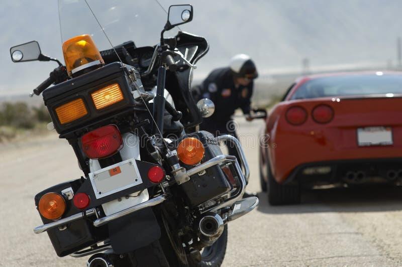 Close-up van Verkeerscop's Motorfiets royalty-vrije stock afbeelding
