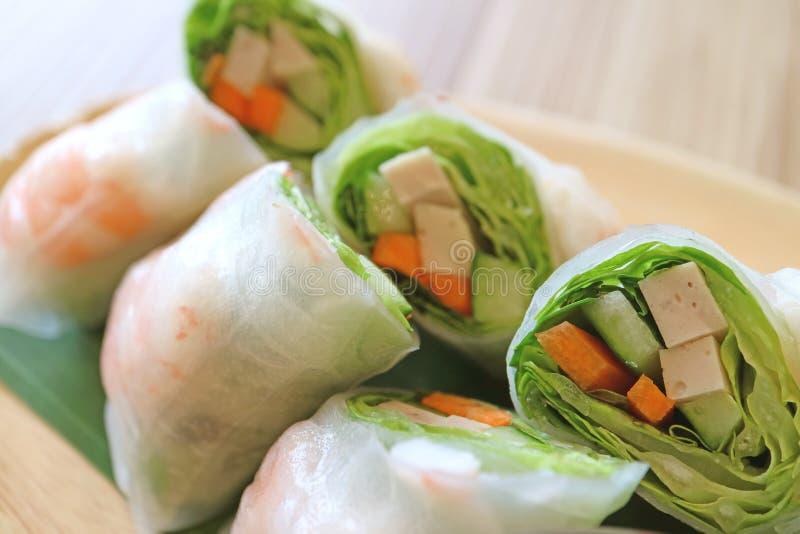 Close-up van Vietnamese Garnaal en Plantaardige Verse de Lentebroodjes stock foto's