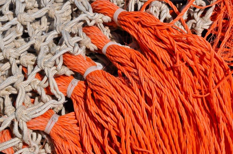Close-up van visserijnetten in een Nederlandse vissershaven royalty-vrije stock fotografie