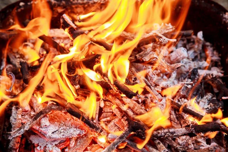 Close-up van Vlammen die op Zwarte Achtergrond, langzame motie branden stock fotografie