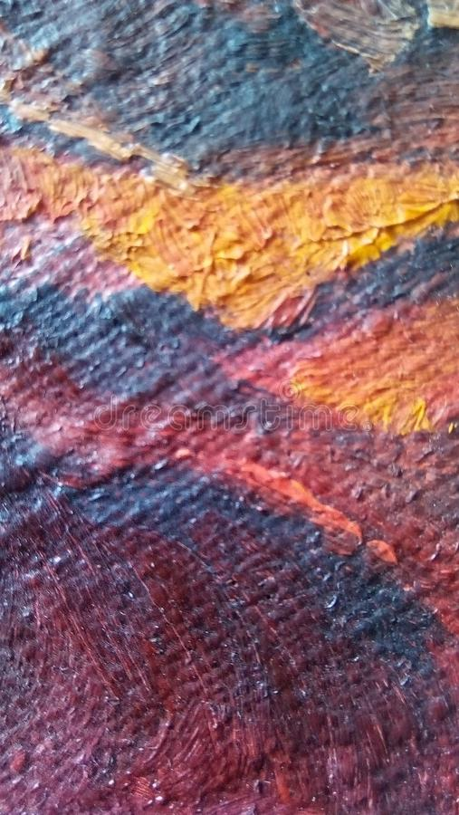 Close-up van vlekken van olieverf op de oppervlakte van het canvas royalty-vrije stock afbeeldingen