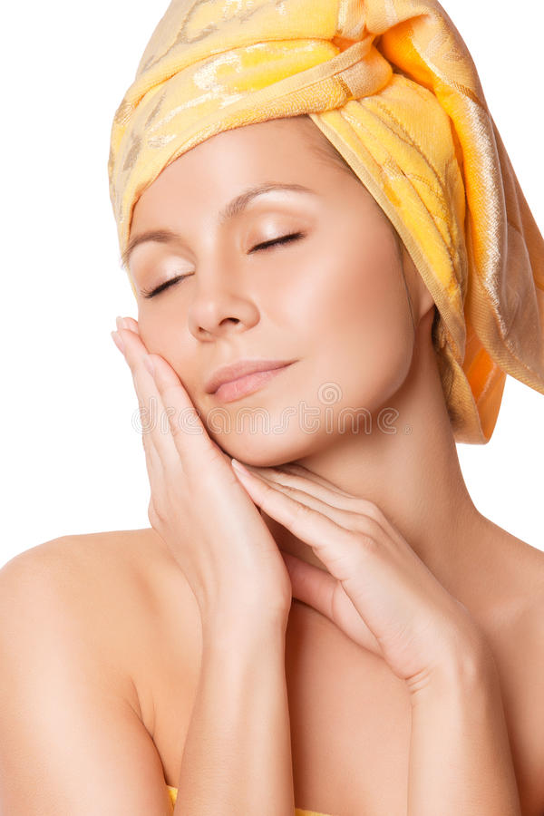 Close-up van vrouw met perfecte gezondheidshuid stock afbeeldingen