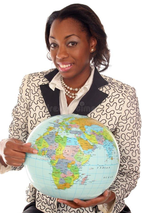 Close-up van vrouw met reis op haar mening royalty-vrije stock fotografie