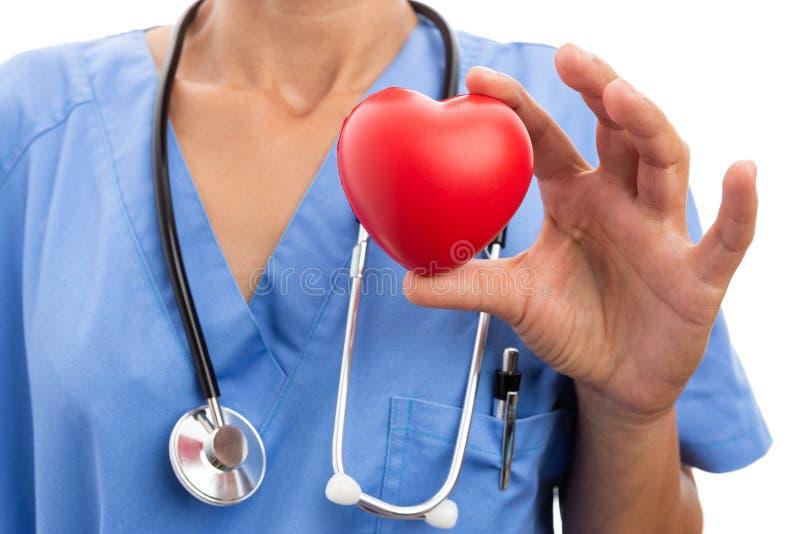 Close-up van vrouwelijk de holdingsstuk speelgoed van de artsencardioloog rood hart royalty-vrije stock afbeeldingen