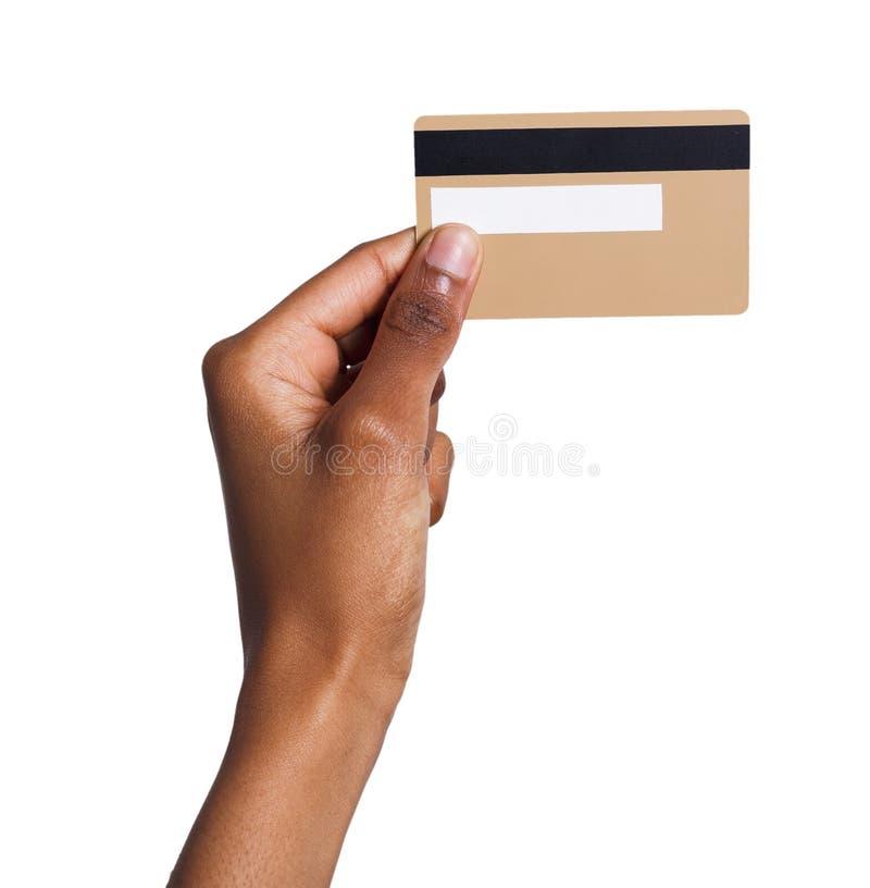 Close-up van vrouwelijke hand die plastic kaart houden stock foto