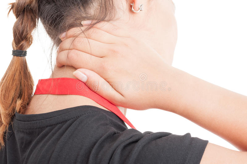Close-up van vrouwelijke werknemer met cervicaal probleem royalty-vrije stock afbeelding