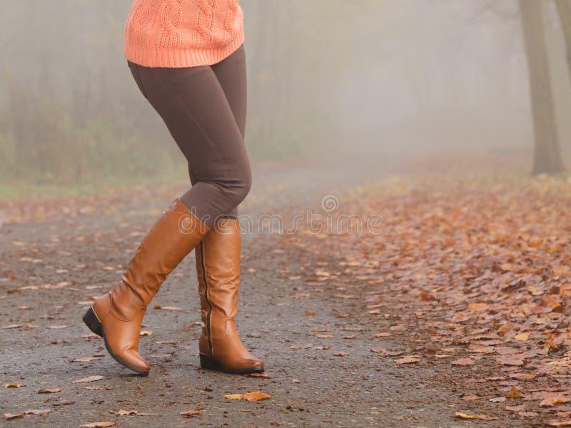 Close-up van vrouwenbenen in bruine laarzen Dalingsmanier stock afbeeldingen