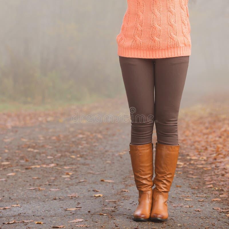Close-up van vrouwenbenen in bruine laarzen Dalingsmanier stock foto's