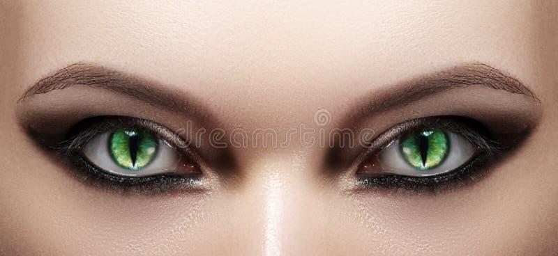 Close-up van Vrouwenogen De make-up van Halloween Cat Eye Lens De Zwarte Samenstelling van de manierloopbrug Lichtgevende Groene  royalty-vrije stock fotografie