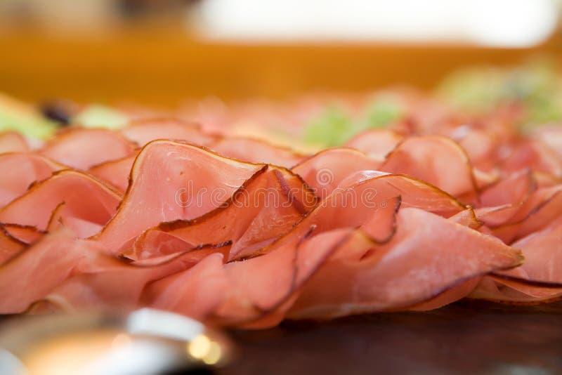 Close-up van wat yummy ham stock afbeeldingen