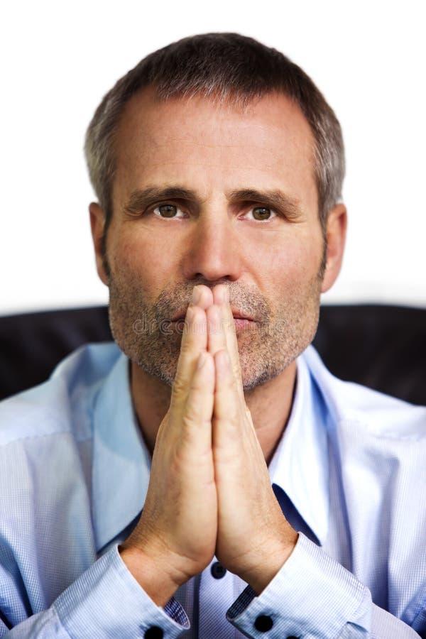 Close-up van zakenman met gevouwen handen. royalty-vrije stock foto