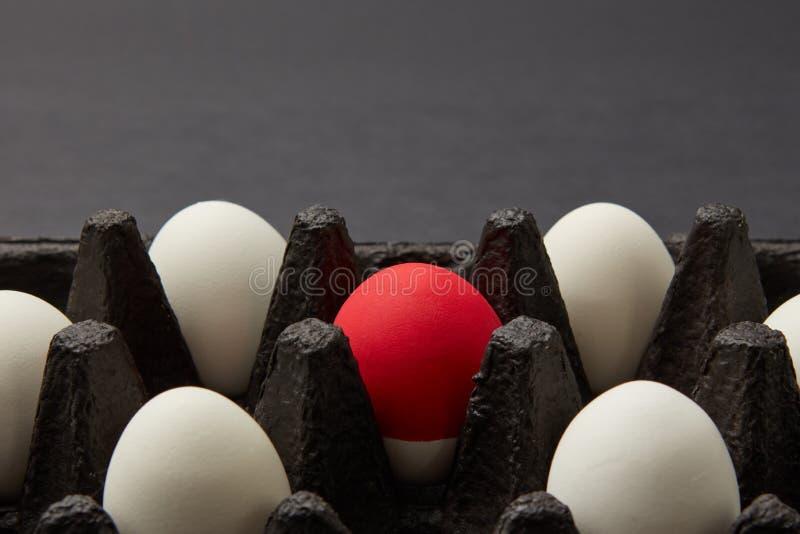 Close-up van zwart kartonvakje met witte en rode ruwe eieren op zwarte achtergrond met exemplaarruimte Het Concept van Pasen stock foto's