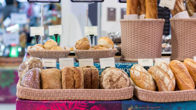 Close up Variety of fresh bread in a supermarket royalty free stock photos
