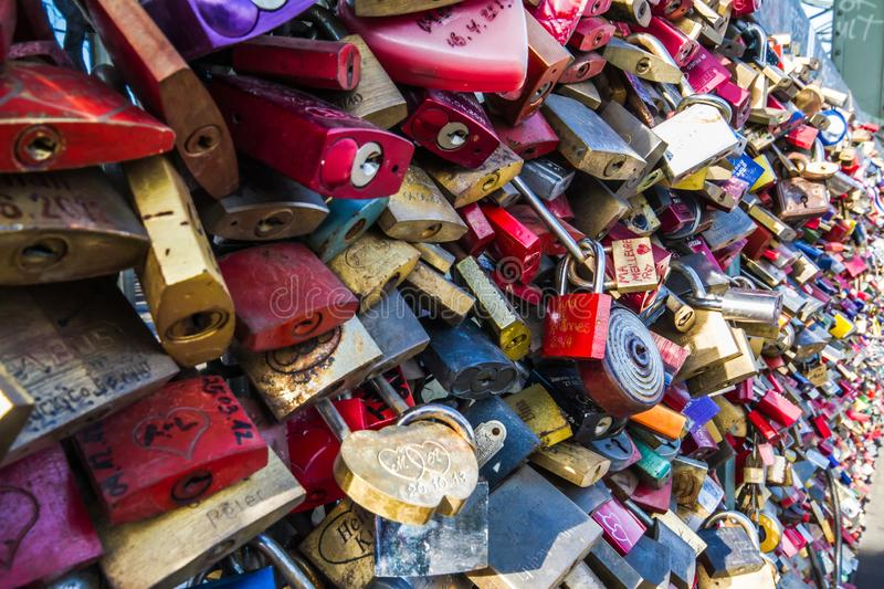 Close-up of a variety of labeled padlocks royalty free stock photography