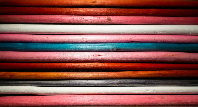 Close up of a variety of wooden stick with different colors and pattern. Background, textures royalty free stock photos