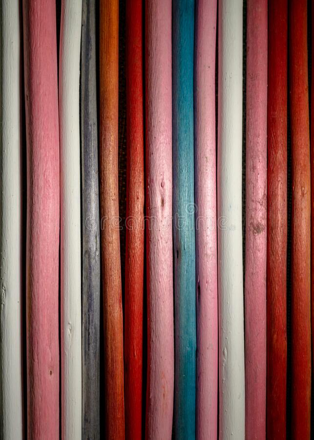 Close up of a variety of wooden stick with different colors and pattern. Background, textures stock photography