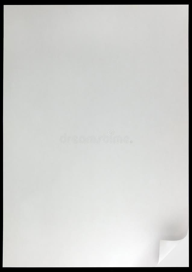 Close up vazio vazio vertical do espaço da cópia do preto do fundo da onda da página branca, grande folha da página fotos de stock royalty free