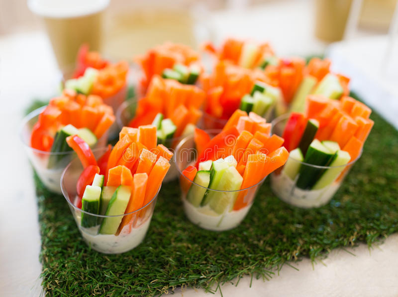 Close Up Of Vegetable Snacks On Table Decoration Stock Photo - Image ...