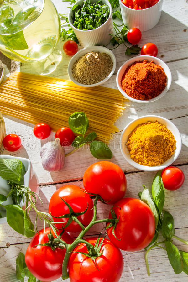 Close-up of vegetables in Italian cuisine royalty free stock photos