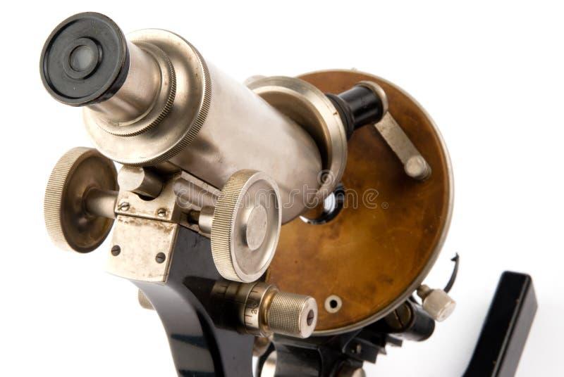 Close up velho do microscópio imagem de stock