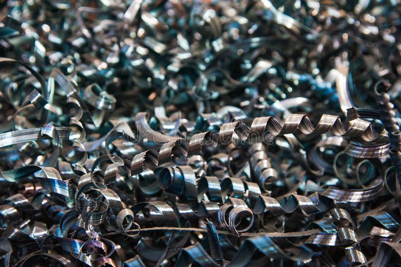 Close-up verdraaide spiraalvormige staalspaanders stock afbeelding