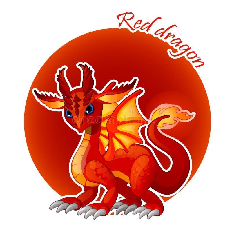 Close up vermelho do dragão dos desenhos animados, ilustração do vetor ilustração do vetor