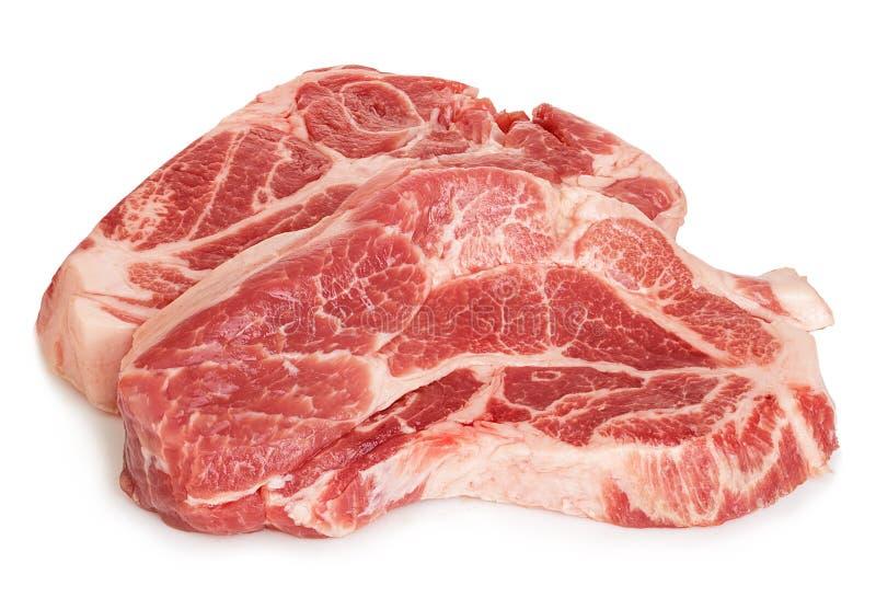 Close-up vermelho fresco da carne crua isolado em um fundo branco imagem de stock royalty free