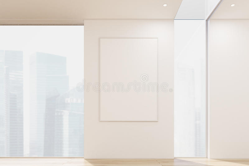 Close up of a vertical poster hanging on a white office or apartment wall between two tall windows. 3d rendering. Mock up. Toned image royalty free illustration