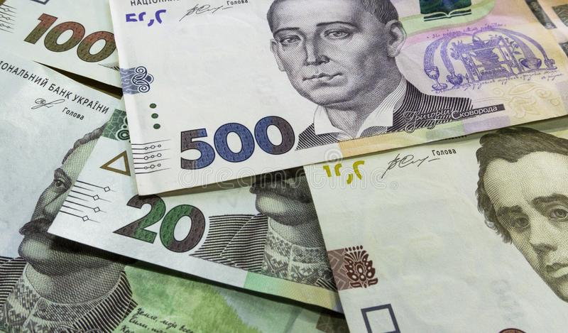 Close up vie of ukrainian money 100, 500 grivnia for design and creative projects royalty free stock photo