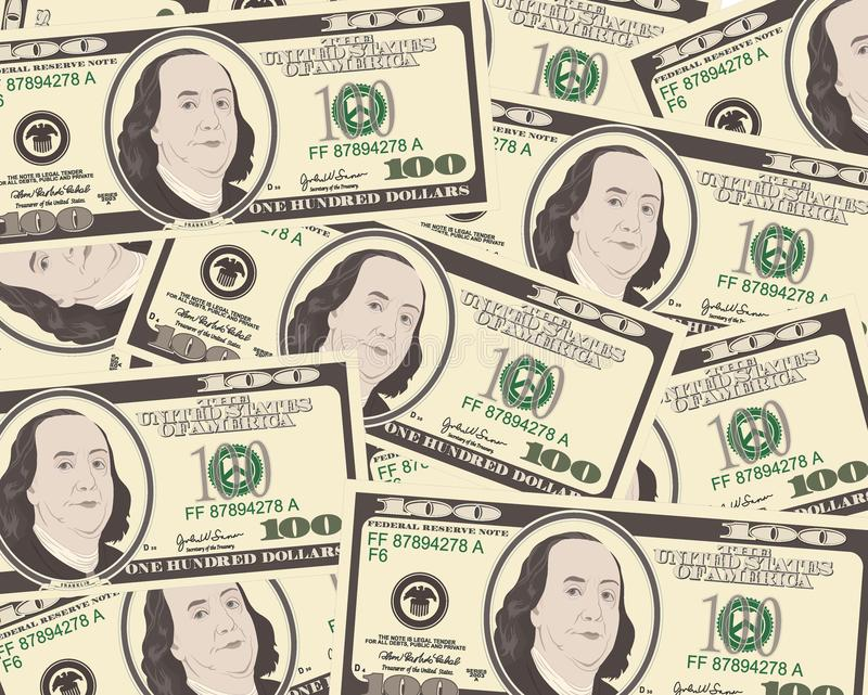 Close up view of American hundred dollar bills. royalty free illustration