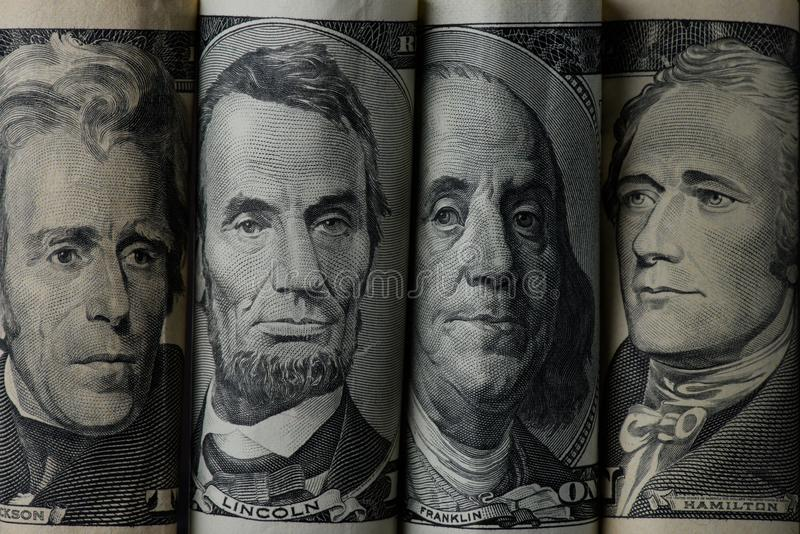 close up view of american presidents stock images