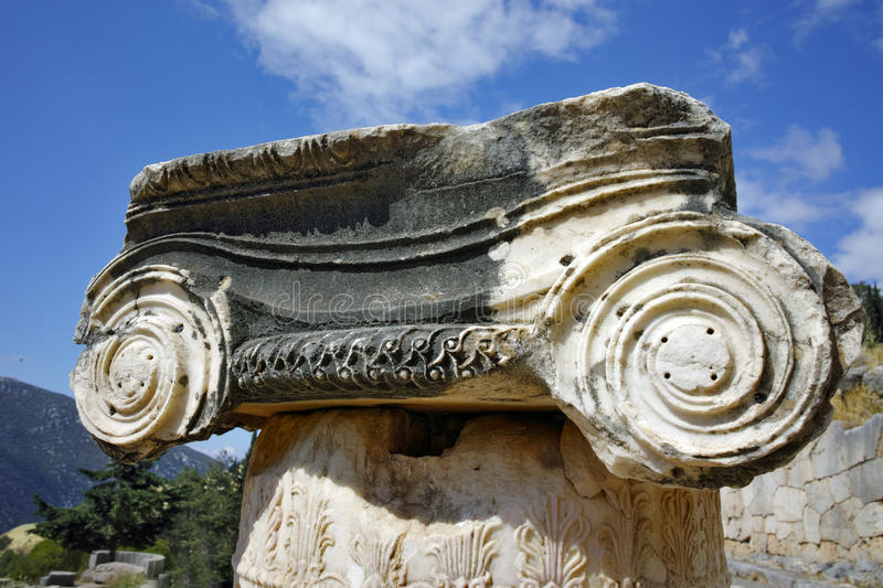 Close up view of Ancient column in Ancient Greek archaeological site of Delphi, Greece. Close up view of Ancient column in Ancient Greek archaeological site of royalty free stock images
