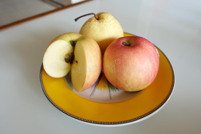 Delicious apples for breakfast stock image