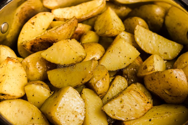 Close up view of backed potatoes as pattern. stock photography