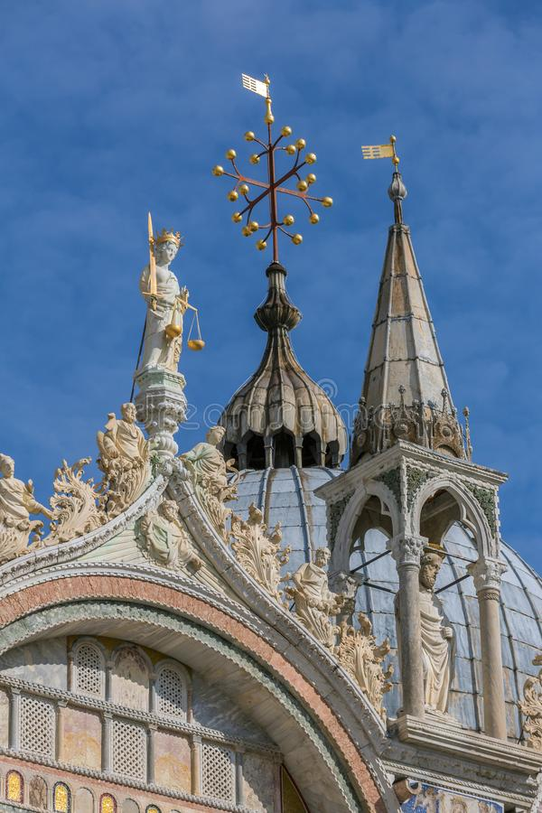 Close up view of the Basilica di San Marco roof details in Venice royalty free stock images
