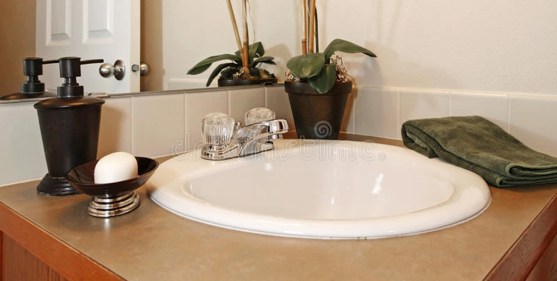 Close up view of the bathroom sink stock images