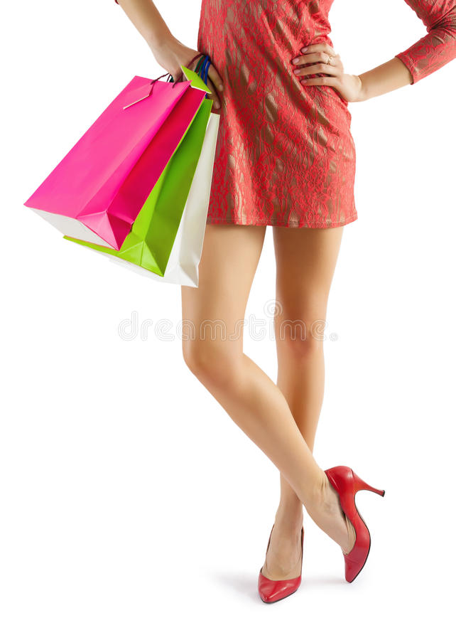 Close up view on beautiful female legs stock photo