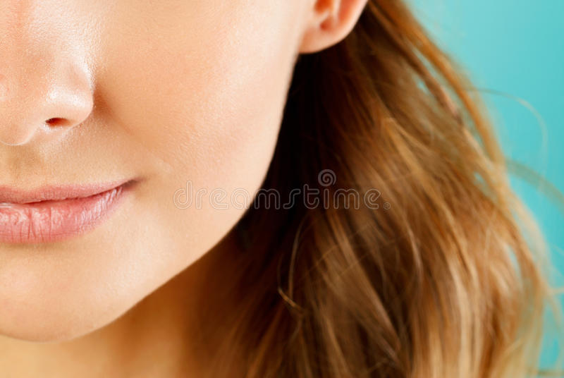 Close up view of a beautiful young woman`s mouth with perfect li. Close up view of a beautiful young woman`s mouth royalty free stock photos