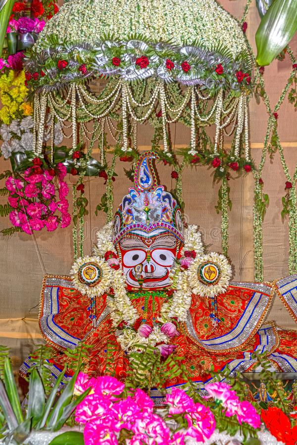 Beautifully decorated Hindu Lord Balarama idol during the Rath Yatra Festival. Close up view of Beautifully decorated Hindu Lord Balarama idol during the Rath royalty free stock photography