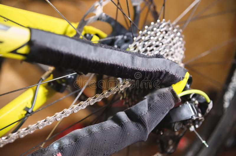 Close-up View of the bike in repair. Gear cassette close-up. Crafting service for mountain bikes. Repair guide for your. Site stock image