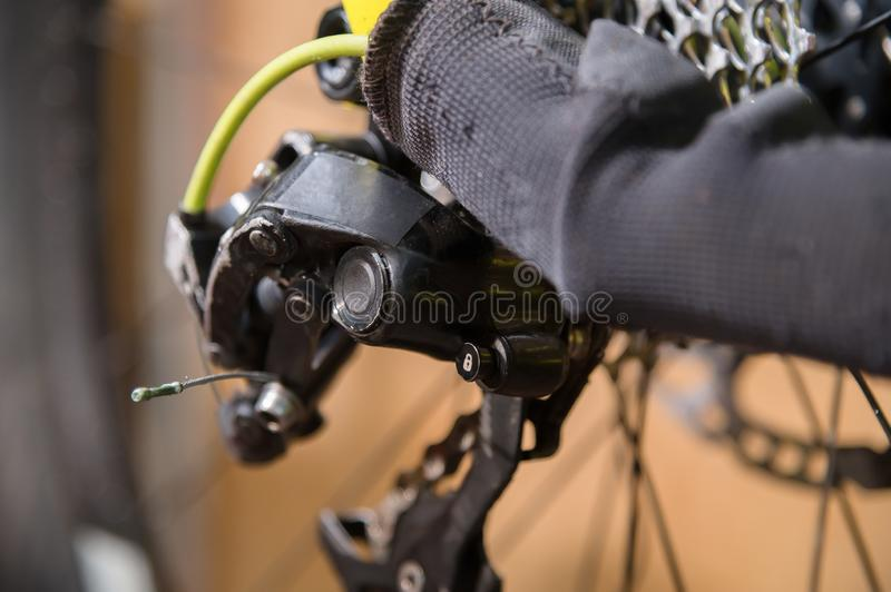 Close-up View of the bike in repair. Gear cassette close-up. Crafting service for mountain bikes. Repair guide for your. Site royalty free stock photo
