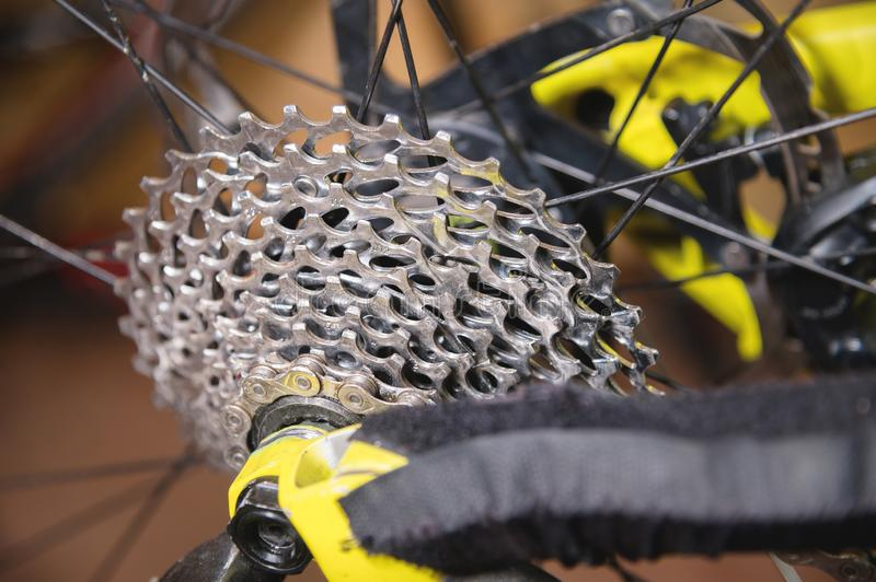 Close-up View of the bike in repair. Gear cassette close-up. Crafting service for mountain bikes. Repair guide for your. Site royalty free stock photos