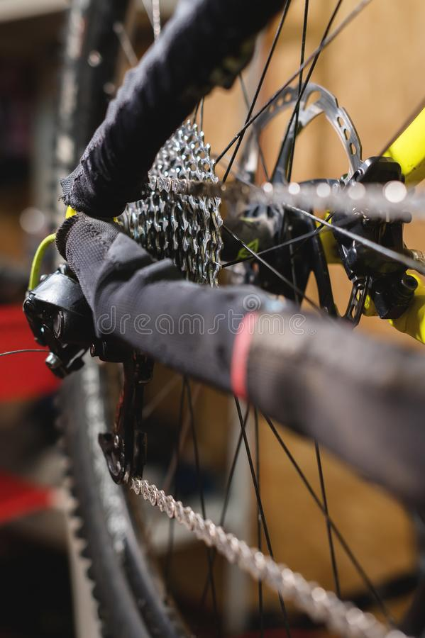 Close-up View of the bike in repair. Gear cassette close-up. Crafting service for mountain bikes. Repair guide for your. Site stock photography