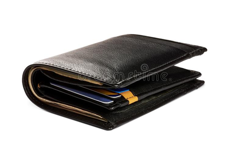 Close-up view of black leather men`s wallet with credit cards and banknotes, luxury - isolated on white background royalty free stock images