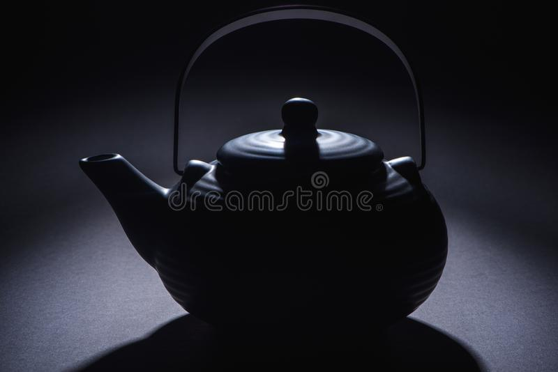 close-up view of black traditional chinese teapot royalty free stock photos
