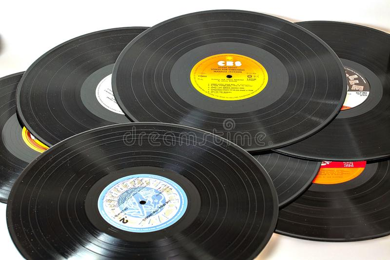 Close up view of black vinyl discs isolated. Beautiful backgrounds. Music concept.11.11.2018. Uppsala. Sweden. royalty free stock photos